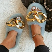 Slippers Furry Slides Gold Chain Fuzzy Plush Designer Fluffy Flip Flops Female Home Faux Fur Fashion Shoes Women