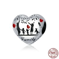 Fashion 925 Sterling Siling Heart Hearm Charm Familia Familia Familia Original Pulsera Collar Hacer Joyería Esposa Novia Regalos Regalos Europea Beads Bulk Wholesale