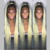 """جديد 13x4 """"الرباط أمامي صندوق شعر مستعار جديلة مع شعر الطفل مضفر يدويا أسود / بورجوندي / شقراء الفينرو مضفر لمة تويست الباروكات للنساء الأفارقة"""