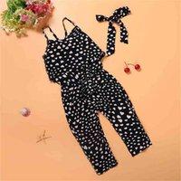 Ins Çocuk Kız Rahat Sling Romper Pantolon Sevimli Güzel Kalp Şeklinde Tulum Kargo Pantolon Bodysuits Kıyafet Yaz Askı Tulumlar Genel Giyim L616171C