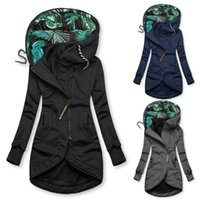 Women's Jackets Drawstring Zip-Up Jacket Stitching Coat Hooded Slim Outwear Autumn Winter Casual Loose Coats