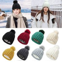 Beanies Winter Stretchy Soft Skull Cap Knit Hats Beanie Hat For Women Faux Fur Pom