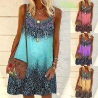 Summer Bohemian Dress Women Vintage Printed Spaghetti Strap Sundress Lady Casual Loose Sleeveless Mini Vestidos Beach 2021