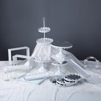 기타 Bakeware 금속 케이크 스탠드 파티 공급 컵케익 푸시 팝업 디스플레이 트레이 용품 장식용 흰색 낭만적 인 결혼식 홀더