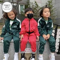 Ins baby kids red green color squid game tracksuit No. 456 hoodie jacket and pants set children's sportswear boys girls outfits cosplay customes props cloth G059OFP