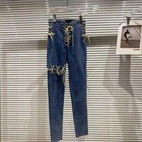 DEAT Women Ribbon Bandage Elastic Slim Pencil Jeans Solid Color High Waist Pants Fashion Spring Summer 11B645 210709
