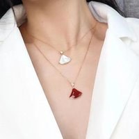 S925 silver plated 18k inlaid natural white mother-of-pearl Pendant Necklaces carnelian fan-shaped skirt gentle fashion clavicle necklace female