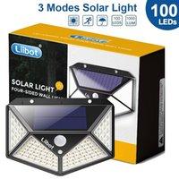 LIBOT 100 LED Lampada solare Lampada da esterno Lampada da esterno con sensore movimento Sunlight Street Lantern Faretto per la decorazione del giardino