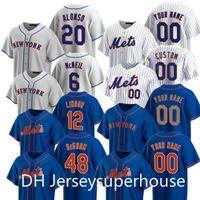 2021 Mets 12 Francisco Lindor Jersey 20 Pete Alonso 48 Jacob Degrom 31 Mike Piazza 40 Wilson Ramos 45 Michael Wacha Wilson Jersey de baseball