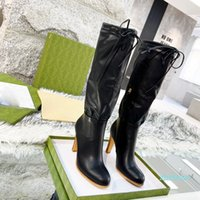 Designer Zipper Slip-on Lady Leather Pleated High Heel Boots Desert Flamingos Love Arrow Letter Canvas Over-the-knee Medal Coarse