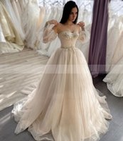 밝은 샴페인 얇은 명주 그물 웨딩 드레스 착탈식 긴 소매 레이스 아플리케 신부 드레스 스윕 / 브러시 열차 사용자 정의