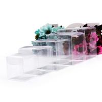 Квадратный четкий ПВХ коробки свадьба подарочная коробка прозрачная вечеринка сумки конфеты шоколадные украшения / конфеты / упаковочная сумка Y0606