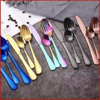 4 قطع وجبة الطعام مجموعة الفولاذ الصلب أطباق مجموعات الغذاء الصف أواني السكاكين الفضائيات تشمل سكين شوكة ملعقة ملعقة صغيرة DHB5827