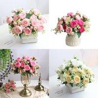 1 bouquet 5 têtes artificielles pivoine thé rose fleurs camellia silk fausse fleur pour bricolage maison jardin décoration de mariage GWD9132