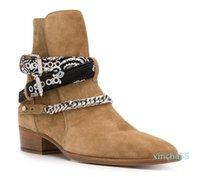 Season Man Ami Ri Chain-embellished Ankle Boots Bandana Print Side Buckle Fastening Round Toe Shoes