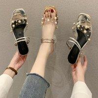 Med أحذية امرأة 2021 أنثى النعال بريق الشرائح كعب مربع سلسلة حبة الأزياء شفافة الكعب البغال ملاعب جيلي