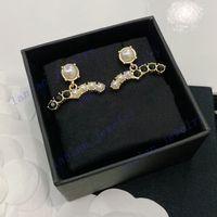 Роскошный студент дизайнер серьги классические двойные буквы логотип черный алмаз белый жемчуг 925 серебро L0-C21