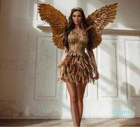 Evening dress Yousef aljasmi Zuhair murad Gold Feather Short dress Sweetheart