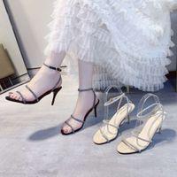 sandália uma linha sandálias verão verão oco aberto broca de água versátil rede sexy sexy fina sapatos de salto alto mulheres