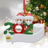 Ornament Christmas DHL DIY 2020 Face Mask Snowman Christmas Tree Hanging Pendant PVC Christmas Decoration Family 2 3 4 5