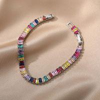 Link, Chain Boho Rainbow Tennis Bracelets For Women Men Zircon Bracelet Wedding Christmas Party Jewellry Friend Gift Bijoux Femme