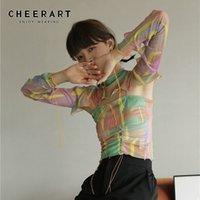 ChearArt Красочные розовые сетки Cami Top Летний урожай вершины женщин Ширред Спагетти ремешок с Drocked Top Fashion Designer 210319