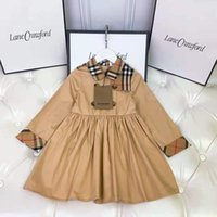 Muñeca americana muñeca ropa de manga larga vestido de fiesta diseño a cuadros niñas bebé flor de moda vestidos de novia niño niño invierno ropa