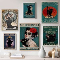 Mental Black Cat Poster the Witches Moon Art Print Vintage Halloween Gifts Retro Funny Bathroom Sign Canvas Painting Home Decor Y0909