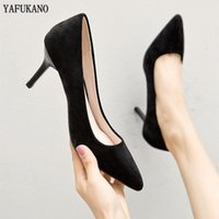 Dress Shoes Temperament Black Flock Career Work 5cm 7cm Brand Women Pumps Pointed Toe Lady Thin High Heels Plus Size 34-41