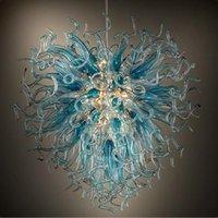 مصابيح الثريات الحديثة في مهب الزجاج قلادة الأنوار الثريا الإضاءة العتيقة غرفة الطعام led الأزرق رمادي ضوء الكريستال