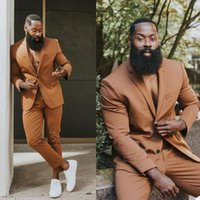 Plus Size Brown Mens Tuxedos Slim Fit Two Button Groom Wear Wedding Blazer Trousers Suits Business Prom Party (Jacket+Pants)