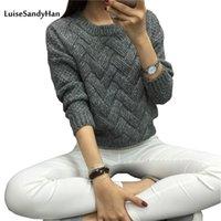 Luisesandyhan donne pullover femmina maglione casual maglione plaid o-collo manica lunga mohair autunno e inverno stile 210427