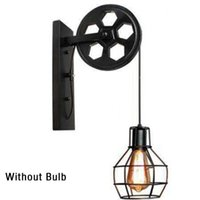 1Pcs Retro Vintage Wall Light Lifting Pulley Industrial Lamp Shade Fixture Iron Loft Cafe Bar Adjustable Sconce Outdoor Lamps