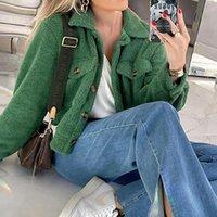 Women's Jackets Cozy Faux Lambswool Fleece Women Autumn Winter Warm Fashion Coats Long Sleeve Casual Pocket Button Outerwear