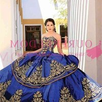 2019 Royal Blue New Sweetheart Embroidery Ball Gown Princess Quinceanera Dresses Lace Bodice Waist Backless Prom Dresses Quinceanera Gowns