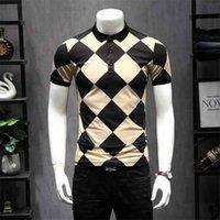 Gran diseñador Plaid Argyle Polos Nuevo Polo de los EE. UU. Camisas para hombres de manga corta Diamante Patchwork Color Camisa transpirable 5XL 9256 210329