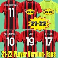 22 22 Jogador Versão CA fãs Milan Futebol Jerseys 2021 2022 Ibrahimovic Mandzukic Kessie Brahim Bennacer Theo Tonali Rebic Leao Goleiro Futebol Camisas