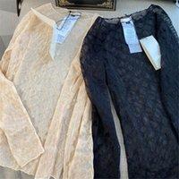الإضاءة أزياء مثير النساء قمصان الكلاسيكية إلكتروني التطريز سيدة تي حزب مأدبة الفتيات العصرية قمم شفافة