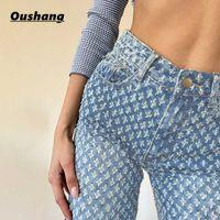Tileewon moda jeans vintage 2020 mulheres cintura alta streetwear carga jean casual mulher magro jeans lápis calças casuais y0602