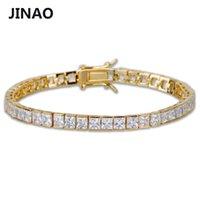 Jinao 1 Row 6 milímetros Hip Hop banhado a ouro Micro Pave AAA Cubic Zirconia para fora congelado Bling Cadeia Box dos homens Dom Bracelet