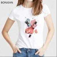 Sommer Womens Tops Vogue T-shirt Frauen Aquarell Nagellack Tshirt Femme Harajuku Kawaii Top 90er Jahre Weibliche Drop