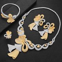Earrings & Necklace LARRAURI Trendy Bowknot Bridal Wedding Dangle Bracelet Resizable Ring Jewelry Sets Acero Inoxidable Joyeria