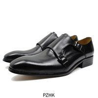 Robe chaussures 2021 Vente Sapatos Masculino Hombre Clasicos de Cuero Véritable Oxford Zapatos Vestir Doble Monje Correa Heebilla Simple Dedo Boda