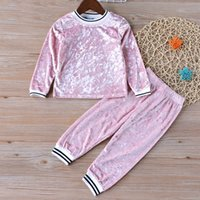New Spring Baby Girl Clothes Sets Stripe Velvet Long- sleeved...