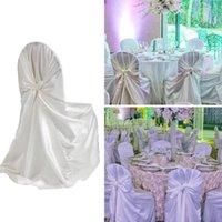 2 Unids Satin Flojo Cubiertas Silla Universal Cubierta de la silla cubiertas de asiento para la boda El banquete Decoración de fiesta al aire libre 22 Color