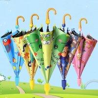 Детские зонтики животных печати полиэстер солнечный дождливый зонтик висит длинно ручкой прямой зонт ребенка дождь GWC6989
