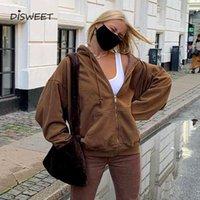 Women's Hoodies & Sweatshirts Hooded Solid Jacket Woman Streetwear Long Sleeve Big Pocket Loose Coat Women Simplicity Slim Plus Cashmere 202