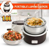 Electric Rice Cooker Stainless Steel 2 Layers Steamer Portable Meal Thermal Heating Lunch Box Container Warmer Cookers