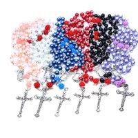 Collar de oración de perlas religiosas para mujeres Hombres 6 colores Rosario Bead Joyería Cadena Largos Collares Colgantes con Cruz de Jesús