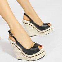Sandals Women Wedges High-heeled Platform Buckle Strap Pumps Sewing Round Toe Covered Heels Peep Summer Ladies